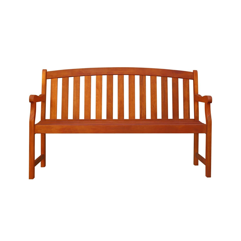 Amazon VIFAH V275 Outdoor Wood Bench Natural Wood Finish