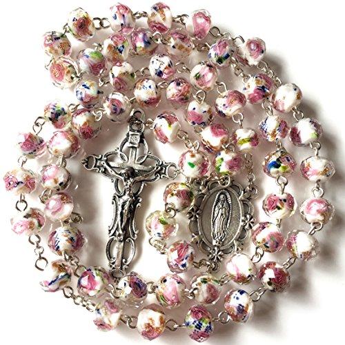 - elegantmedical Handmade Rose Pink Veluriyam Beads Guadalupe Rosary & Italy Cross Catholic Necklace