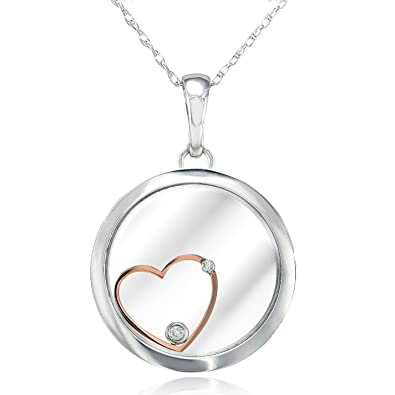 Amazon flat round floating heart pendant 18k two tone gold with flat round floating heart pendant 18k two tone gold with small diamond accents 14k aloadofball Images