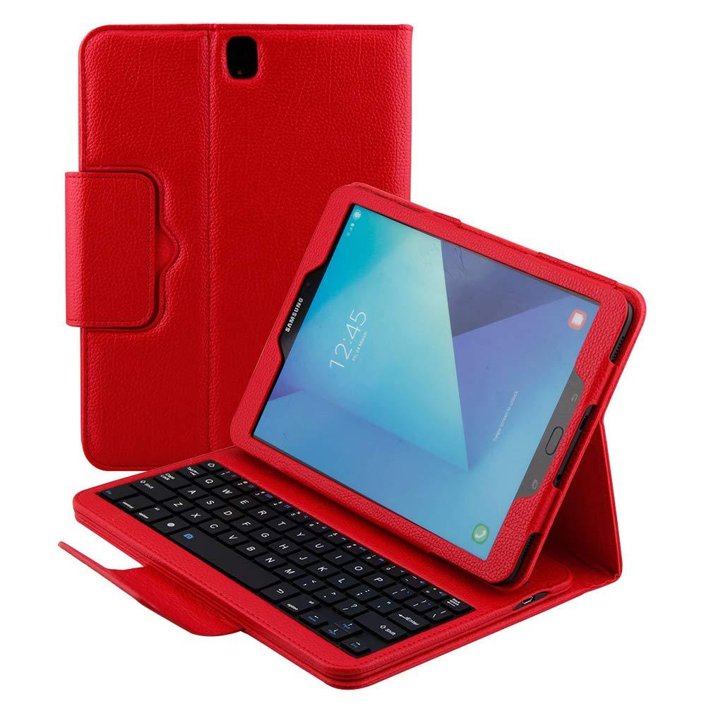 【正規通販】 スマートキーボードケース Samsung Galaxy Tab レッド S3 サムスン 9.7 SM-T820用 スタンド付き スリムフィット 磁気 レザーフォリオカバー 磁気 取り外し可能 ワイヤレス Bluetooth キーボード サムスン 9.7インチSM-T825対応 レッド B07KXRHL6H, AstreMusicアストルミュージック:5a950803 --- a0267596.xsph.ru