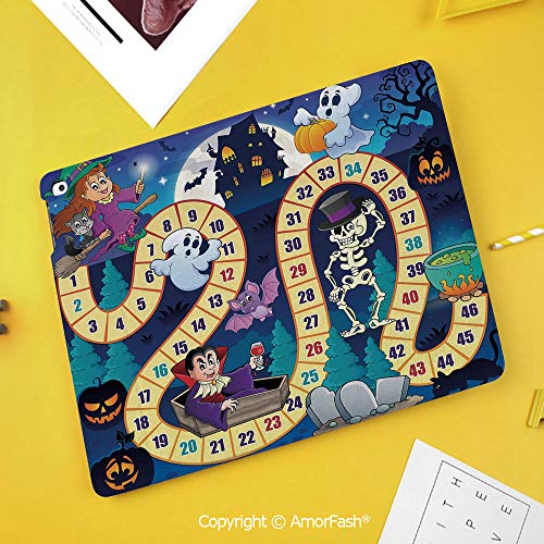 Printed Case for Samsung Galaxy Tab S4 10.5 SM-T830 T835 T837 Tablet Kids Safe,Board Game,Halloween Theme Symbols Happy Witch Girl Vampire Pumpkins Happy Comic,Multicolor -