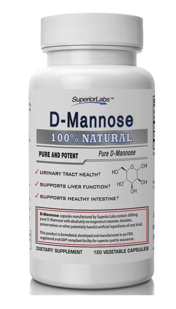 Superior Labs – Best D-Mannose NonGMO Additive Free Dietary Supplement – 500mg, 120 Vegetable Capsules – Powerful Prebiotic – Boosts Urinary Tract Health – Supports Digestive Health & Liver Function