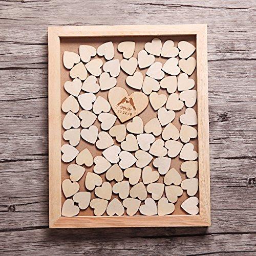 Custom Wedding Guest Book -Drop Box Guest Book Alternative hearts - Wedding Wood Hearts bienternary