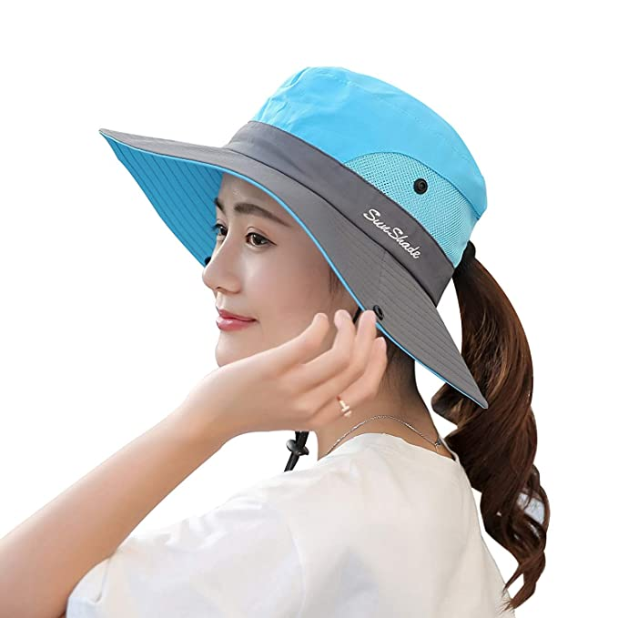 Image Unavailable. Image not available for. Color  Camptrace Safari Sun Hats  for Women Ponytail ... 1f0053f4487