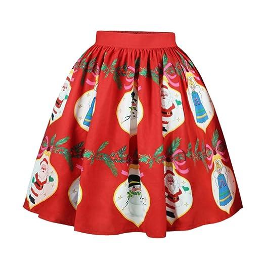 280181ba27e01 Women's Vintage High Waist Short Skirt Christmas Xmas Santa Claus ...