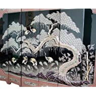 Mother of Pearl Inlay Art Lacquer Finish Crane Bird and Pine Tree Design Luxury Handmade Solid Thick Wood Hall Asian Oriental Furniture Home Decor 6-Panel Folding Screen Room Divider