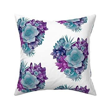 Amazon.com: Roostery Succulent Eco Canvas Throw Pillow ...