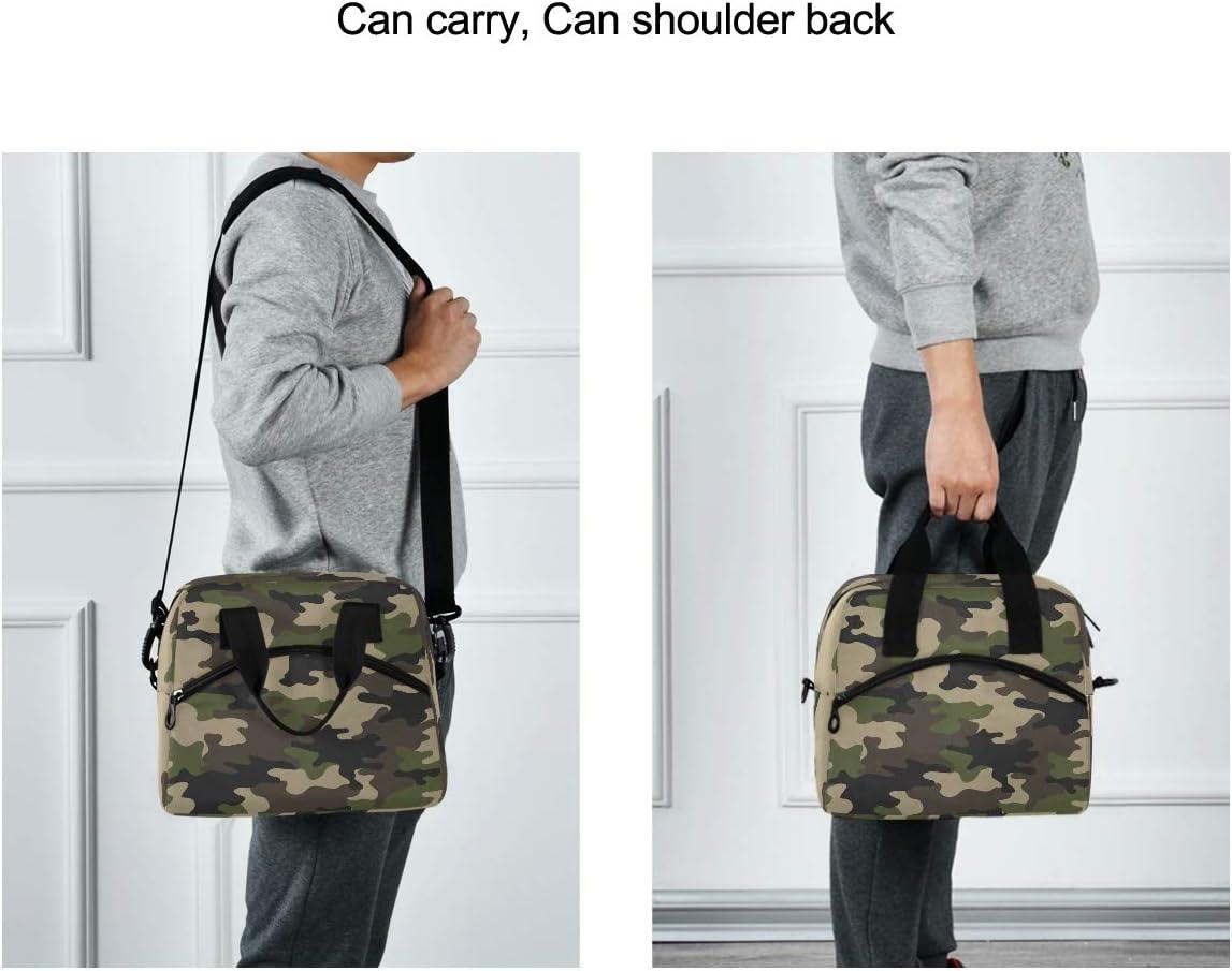 borsa per il pranzo a tracolla classica con stampa mimetica riutilizzabile per donne ragazze e ragazzi QMin con tracolla uomini