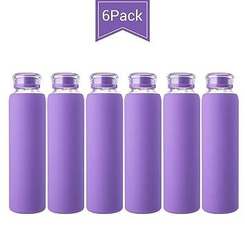 Amazon.com: Botellas de agua de cristal de color MIU ...