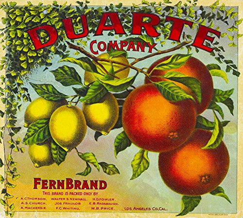 - Duarte, Monrovia, Arcadia, Pasadena, San Gabriel Valley, Los Angeles County, CA - Vintage Duarte Fern Brand Orange Citrus Fruit Crate Label Travel Advertisement Art Print. Measures 10 x 11 inches