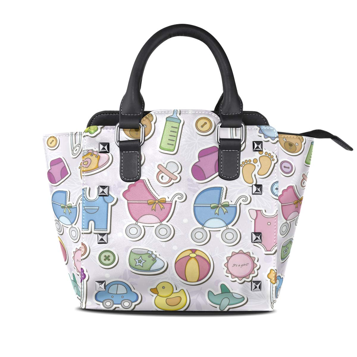 Design5 Emoji Smile Top Handle Satchel Handbags Leather Tote Adjustable Shoulder Rivet Bag for Women