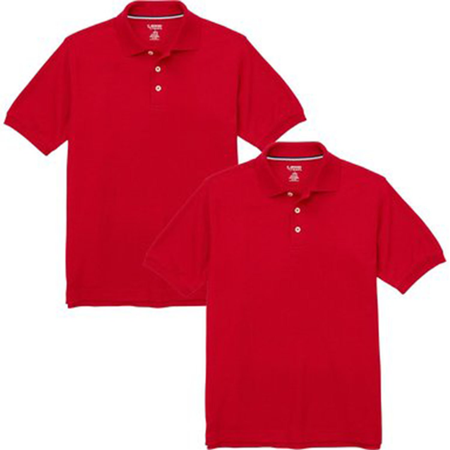 French Toast Boys Short Sleeve Shirt 2 Pack Polo's Red)