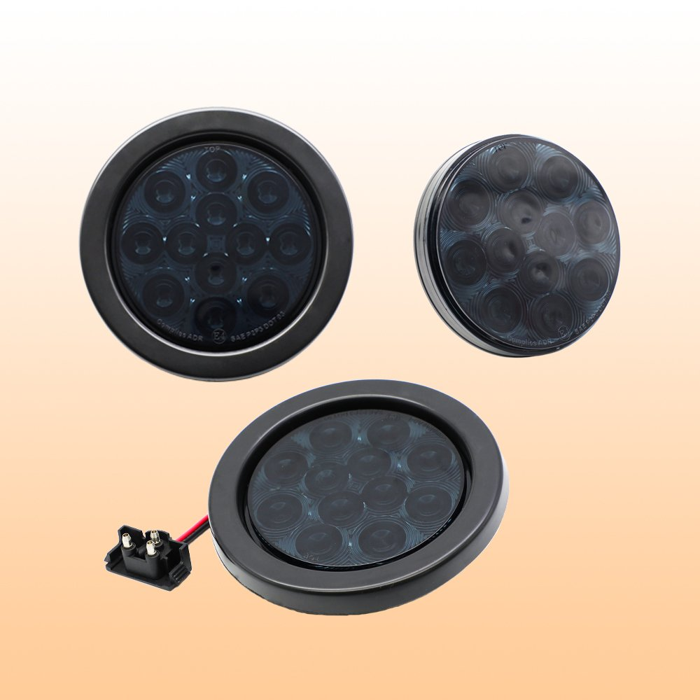 TMH 2pcs 4 12 Super Bright LED Tail Turn Signal Indicator Light Marker Amber Clear Lens Assembly Rubber Mount Grommet for Trucks Trailers 2-GA-CLY