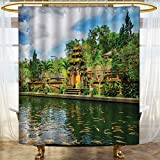 Anhounine Balinese Shower Curtains Mildew Resistant Tirta Empul Temple Bali Indonesia Exotic Trees Oriental Building Fish Lake Photo Bathroom Decor Sets with Hooks 54''x84'' Green Yellow