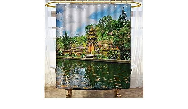 Anhounine Cortina de Ducha Balinese Colección por Uluwatu Temple Bali Indonesia Seacoast Cliff Horizon Verano Seascape Naturaleza Impresión Patrón Cortina de Ducha 91,44 cm x 182,88 cm Azul Verde: Amazon.es: Hogar