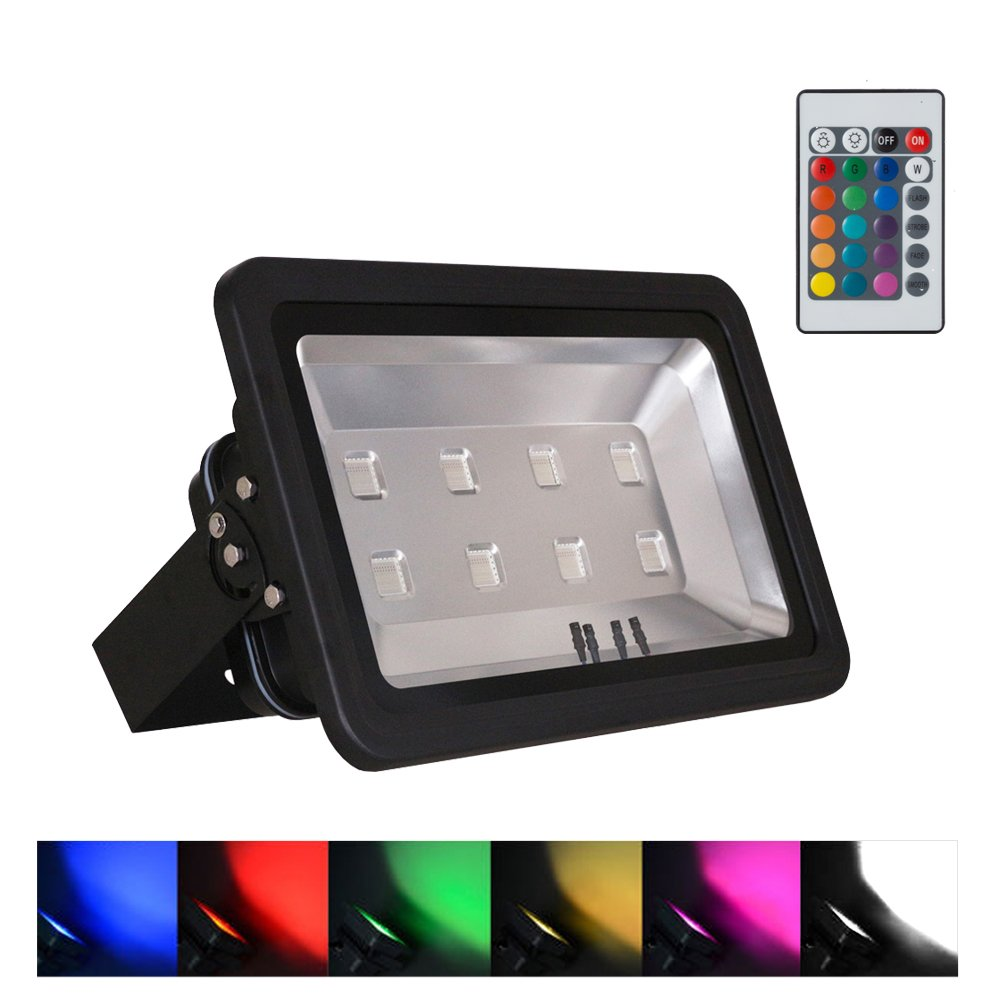 WEDO 400W RGB Led Flood Light IP66 Waterproof Black Shell 16 Colors Change 4 Modes with Remote Control Wall Wash Light Security Light for Outdoor Garden Landscape Yard Car Park(Plug is not included)