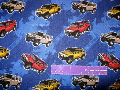 Hummer Blanket (General Motors Hummer SUV Sports Utility Vehicle Cotton Fabric BY THE HALF YARD)