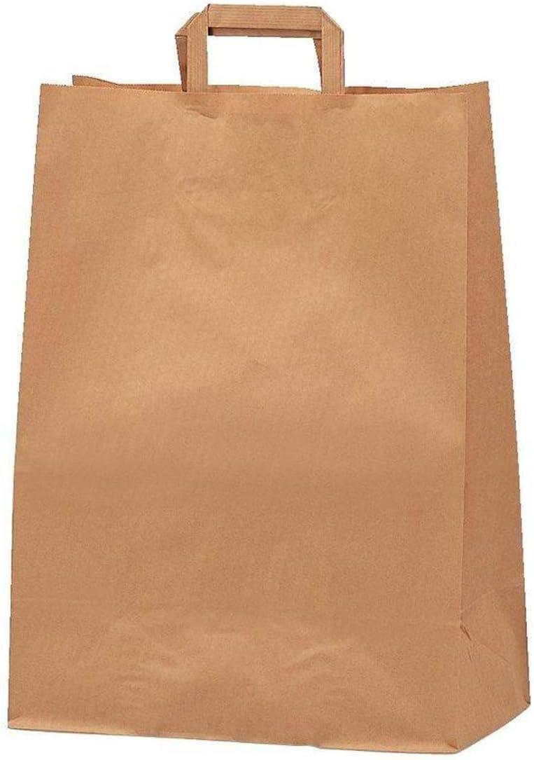 Yearol K14 200 Bolsas papel kraft marrón estraza con asa. 30*22*10 Especial para regalos, comunion, eventos, cumpleaños, bodas, comercio, compra, venta, manualidades, embalaje, transporte. Base plana