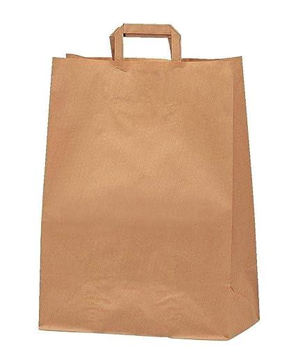Yearol K06 25 Bolsas papel kraft marrón estraza con asa. 30*22*10 Especial para regalos, Navidad, eventos, cumpleaños, bodas, comercio, compra, venta, ...