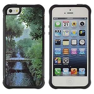 Suave TPU Caso Carcasa de Caucho Funda para Apple Iphone 5 / 5S / Nature Misty Morning / STRONG