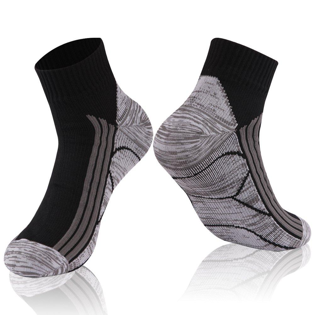 Waterproof Running Socks, RANDY SUN Breathable High Visibility Unisex Running Canyoneering Socks, 1 Pair-Black-Ankle socks,Medium by RANDY SUN
