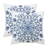 CaliTime Pack of 2 Cozy Fleece Throw Pillow Cases Covers Couch Bed Sofa Vintage Mandala Snowflake Floral 18 X 18 Inches Grey Blue