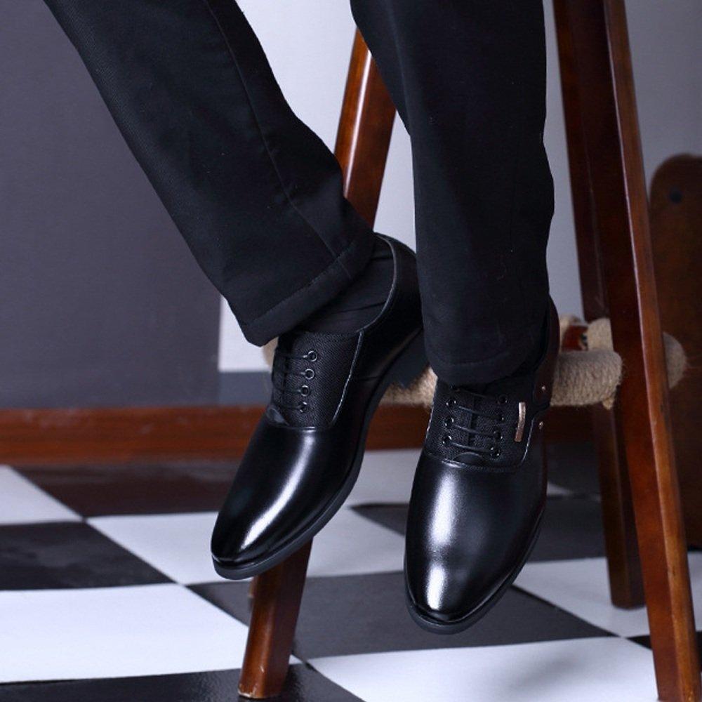 XHD-Schuhe Mode Mode XHD-Schuhe Herren Business Schuhe Matte PU Leder & Leinwand Splice Slip-on atmungsaktiv ausgekleidet Oxfords (Lace-up optional) (Farbe   Lace BLK, Größe   10MUS) b9a581