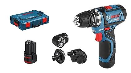 Bosch Professional GSR 12V-15 FC Set - Atornillador a batería (2 baterías x 2,0 Ah, 12V, 4 cabezales FlexiClick, en L-BOXX)