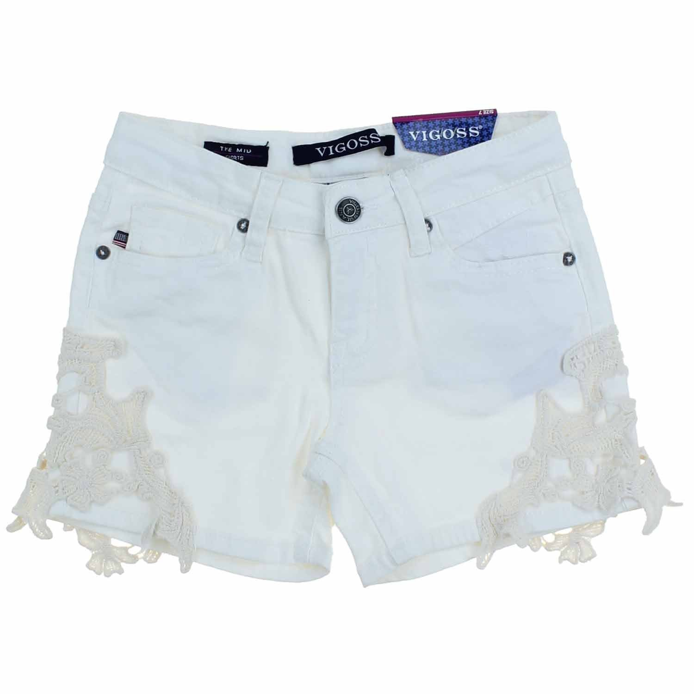 Vigoss Girls Summer Casual Jean Mid Shorts (8, White/Ivory) by VIGOSS
