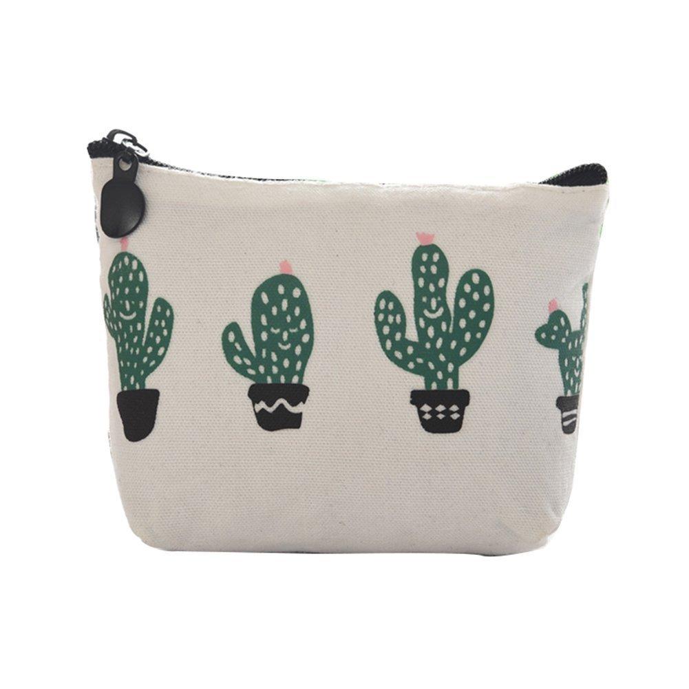 Daorier Mini pochette Femme Porte-Monnaie en Lin toile Imprimé Motif de Cactus Rétro Avec Bouton Pression Fermeture Eclair (A)