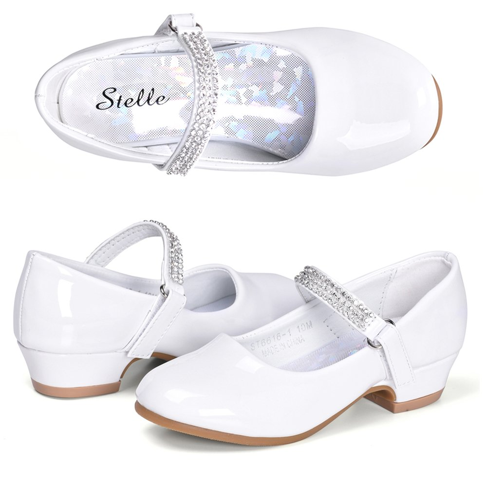 STELLE Girls Mary Jane Shoes Low Heel Party Dress Shoes for Kids (2ML, White)