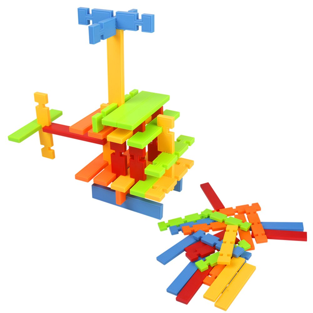 Nuheby Building Toys Building Blocks 50pcs Kids Construction Toys for Girls Boys Stacking Blocks Educational Toys for 3 4 5Years Old