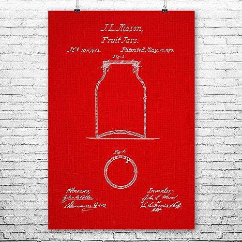 Mason Fruit Jar Poster Art Print, Mason Jar Poster, Mason Fr