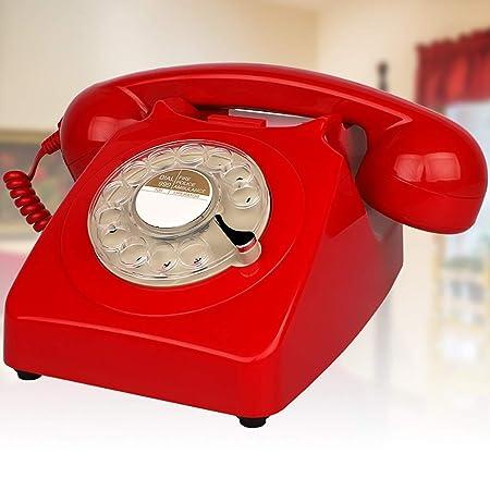 ZYFA Teléfono Fijo Tocadiscos, teléfono Retro Giratorio ...
