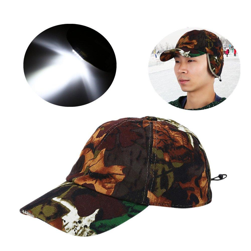 86d627435 Amazon.com : 5 LED Baseball Cap Headlight, Unisex Lightweight Cotton ...