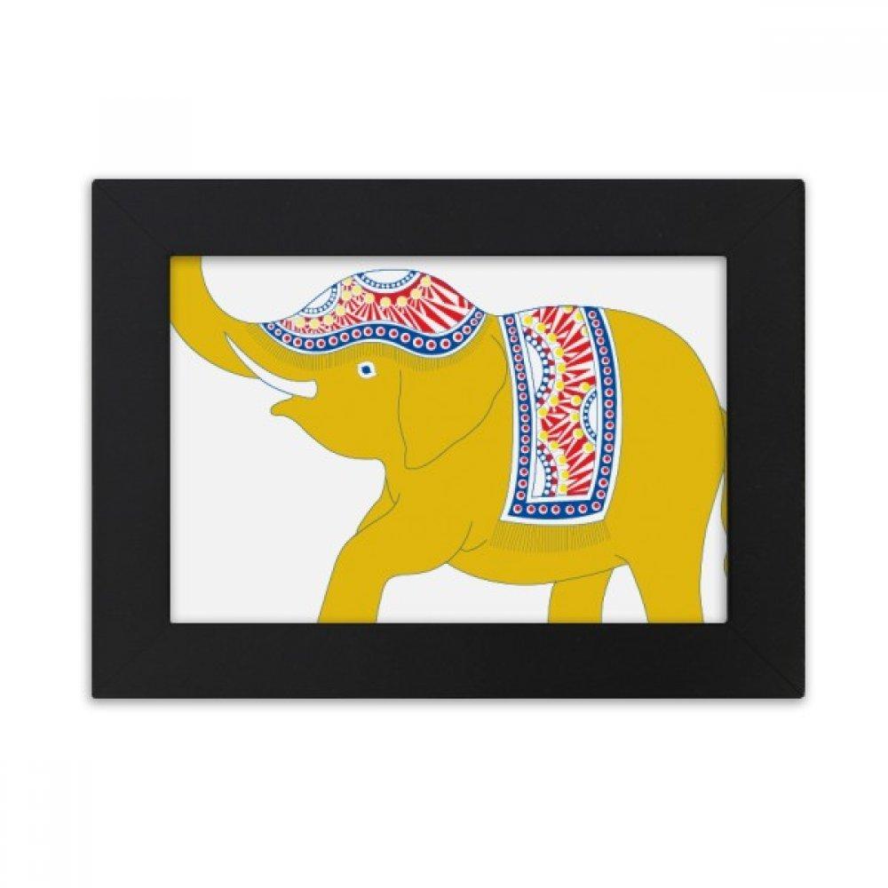 DIYthinker Thailand Yellow Elephant Shield Desktop Photo Frame Black Picture Art Painting 5x7 inch