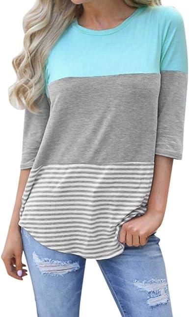 Camiseta Mujer Manga Corta Cuello Redondo con Botonadura Camisas Señoras Verano Outdoor Confortable Hipster Casuales Anchas Elegantes Basicas Shirt Tops Blusa (Color : Sky Blue, Size : L): Amazon.es: Ropa y accesorios
