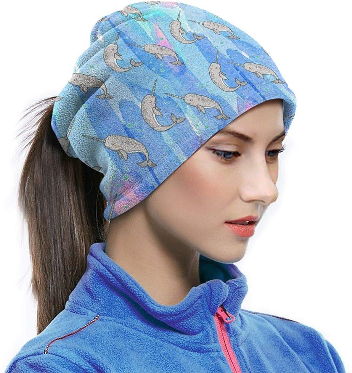 Microfiber Neck Warmer Narwhal Grey Sleep Neck Gaiter Tube Ear Warmer Headband Scarf Face Mask Balaclava