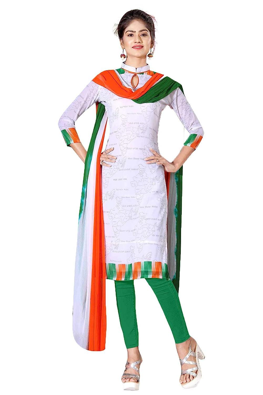 Uniform Sarees Tiranga Poly Georgette Unstitched Salwar Kameez Dress Materials (Tricolour_free size_696/2019)