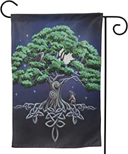 PIELAPA Ostara Hare Tree Gifts Owl Wicca Wiccan Yule Welcome Flag Outdoor Outside Holiday Party Decorations Ornament Home House Garden Yard Decor Double Sided 12.5 X 18 Small 28 X 40 Jumbo Large