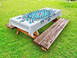 Ambesonne Arabian Outdoor Tablecloth, Illustration of Old Eastern Arabesque Ethnic Antique Oriental Damask Round Motif, Decorative Washable Picnic Table Cloth, 58 X 120 inches, Multicolor