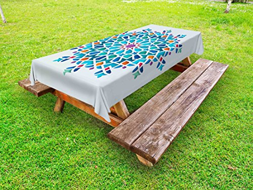 Ambesonne Arabian Outdoor Tablecloth, Illustration of Old Eastern Arabesque Ethnic Antique Oriental Damask Round Motif, Decorative Washable Picnic Table Cloth, 58 X 120 inches, Multicolor by Ambesonne