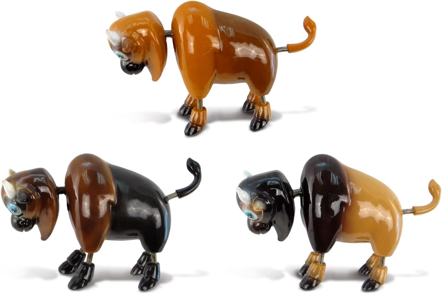 CoTa Global Buffalo Refrigerator Bobble Magnets Set of 3 - Assorted Color Fun Cute Wild Life Animal Bison Bobble Head Magnets For Kitchen Fridge, Home Decor, Cool Office Decorative Novelty - 3 Pack