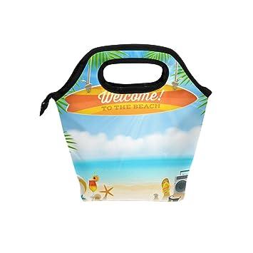 Bolsa de almuerzo para la playa con diseño de pensamientos y tabla ...