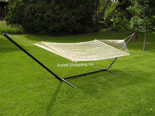 Deluxe Two Person White Rope Hammock Set - Metal Stand Included by Styled Shopping