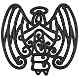 Unique Lawn Care Cara's Casa Angel Trivet - Cast Iron - for Kitchen and Dining Table - Wall Art or Decoration Accessory - Housewarming and Holiday Gifts, Black