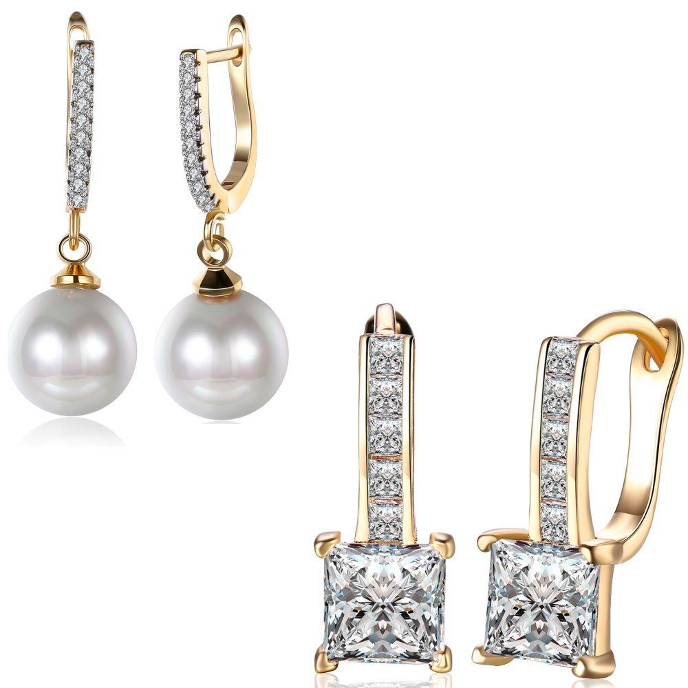 Elegant 18K Gold Plated Cubic Zirconia Dangle Earrings Pearl Drop Earring For Girls Womens Nice Gift (2 Pcs)
