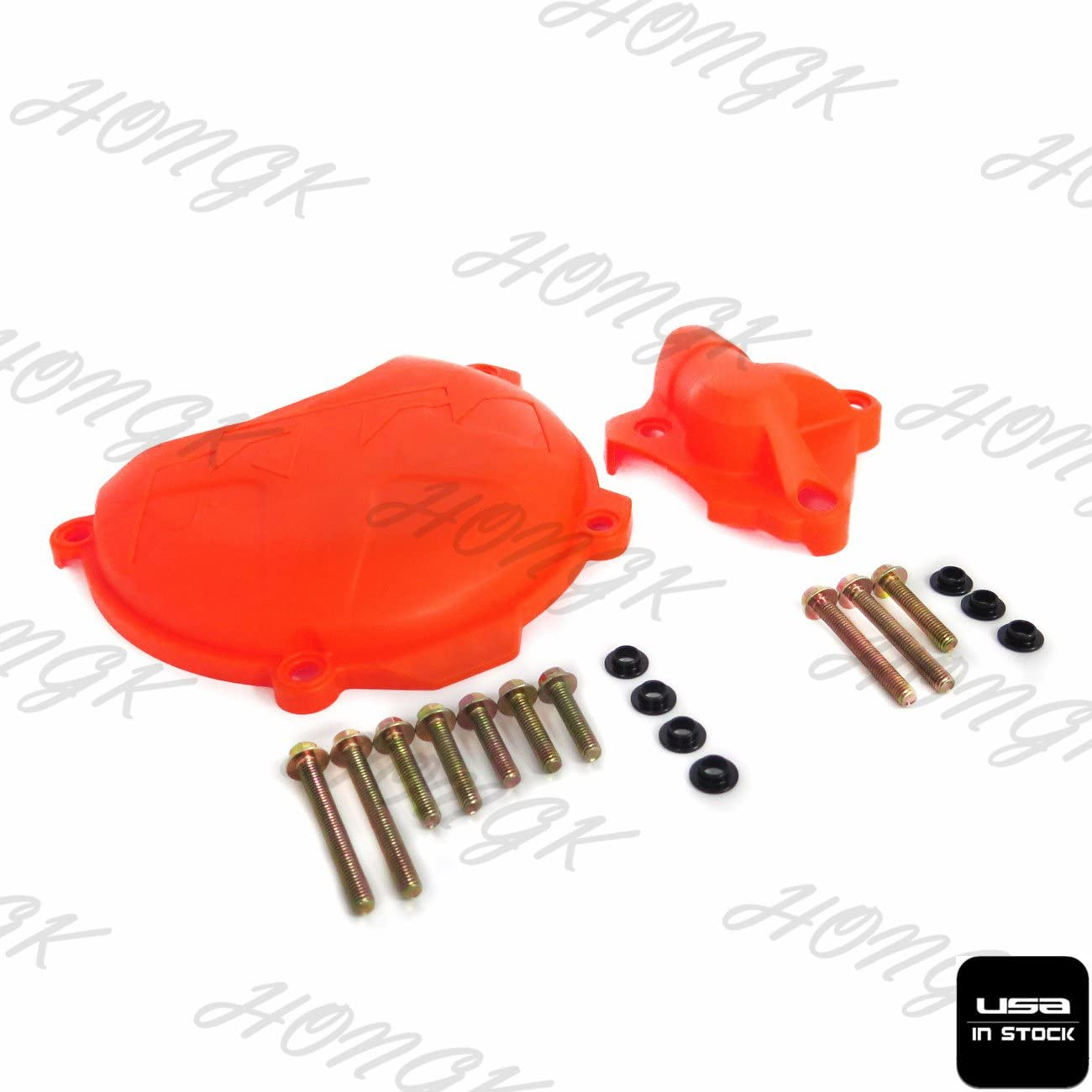 Orange Clutch Cover Protection W//Water Pump Protector Compatible with KTM 250 EXC-F 2014-16 B072W7HDRC HONGK
