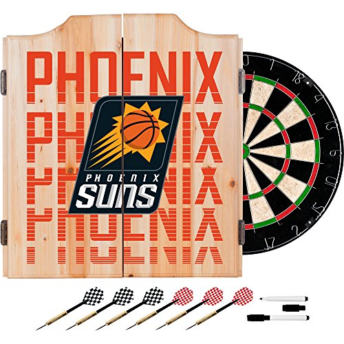 Trademark Gameroom NBA7010-PS3 NBA Dart Cabinet Set with Darts & Board - City - Phoenix Suns by Trademark Global