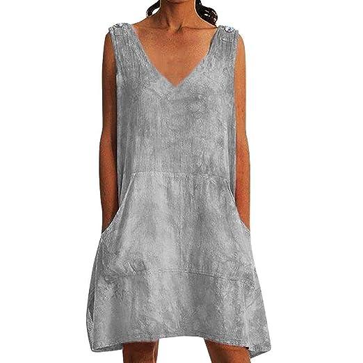 Go First Mini Vestido con Cuello En V para Mujer Moda Casual De ...